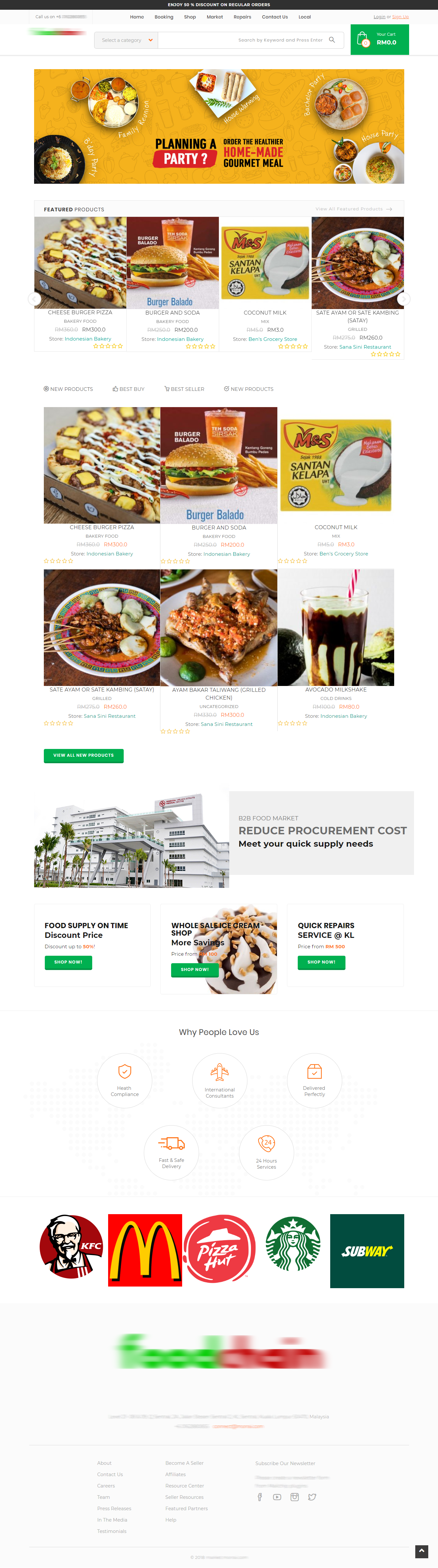 Food B2B Multivendors Marketplace Home Screenshot
