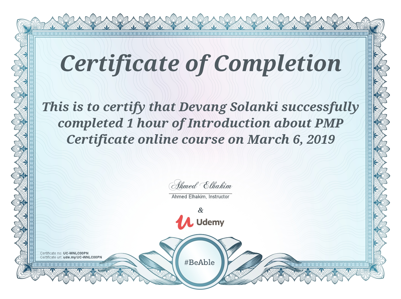 Udemy Introduction about PMP Online Training Certificate UC-WNLC00PN
