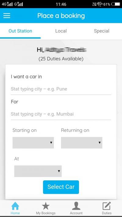 Car Rental App Main Landing Screenshot