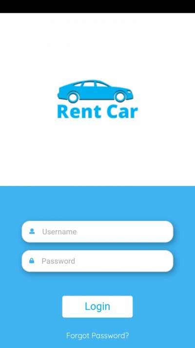 Car Rental App Landing Screen