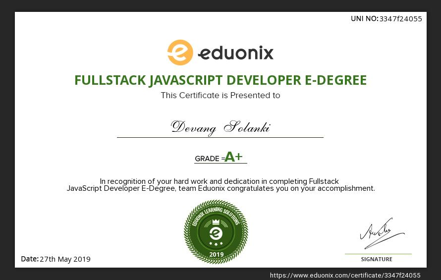 Certified FullStack JavaScript Developer e-Degree