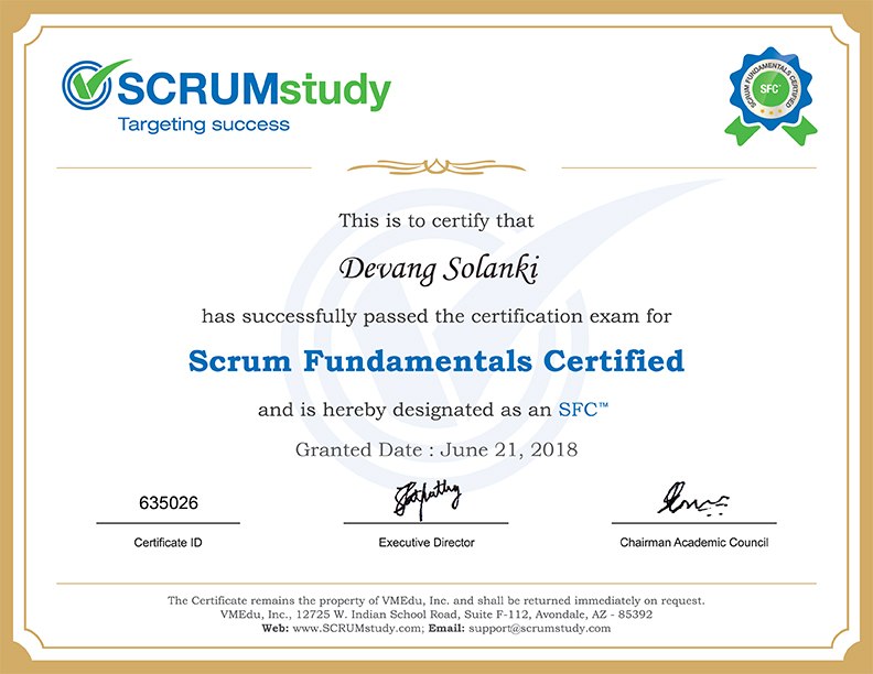 Scrum Fundamentals Certified by ScrumStudy