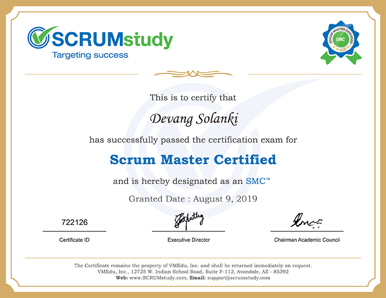 Scrum Master Certified -SMC by ScrumStudy to Devang Solanki