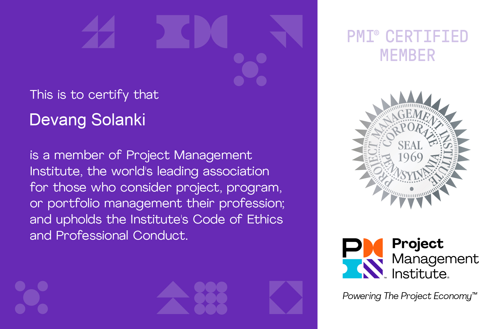 Project Management Institute Membership Certification 2021