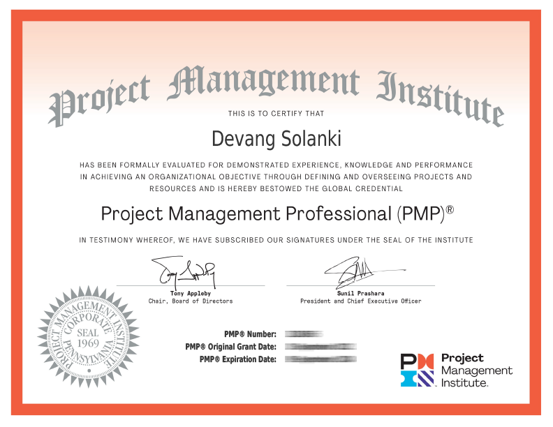Project Management Professional - PMP Certificated